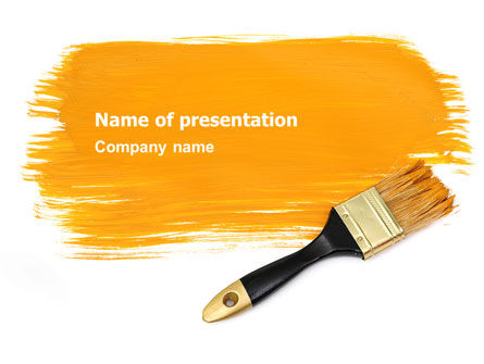 Yellow Paint Brush PowerPoint Template, 07536, Careers/Industry — PoweredTemplate.com