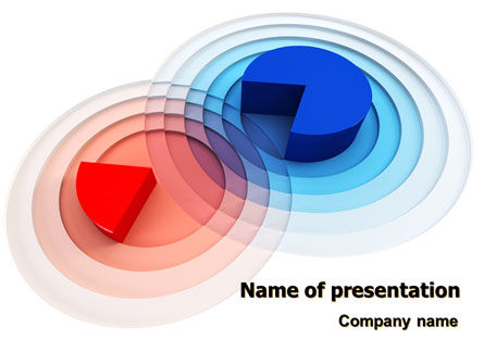 3D Pie Red Blue Colored Diagram PowerPoint Template