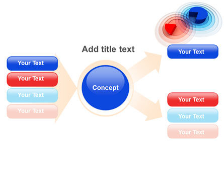 3D Pie Red Blue Colored Diagram PowerPoint Template Slide 15