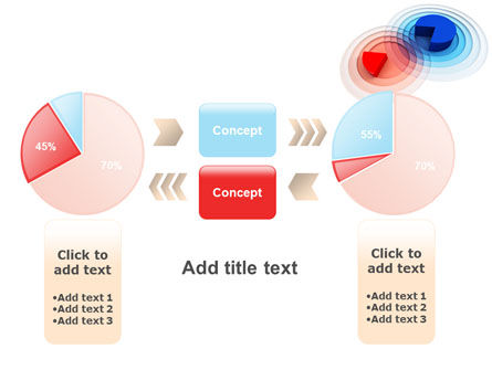 3D Pie Red Blue Colored Diagram PowerPoint Template Slide 16