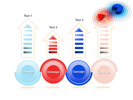 3D Pie Red Blue Colored Diagram PowerPoint Template Slide 7