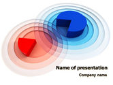 Business Concepts: 3D Pie Red Blue Colored Diagram PowerPoint Template #07558