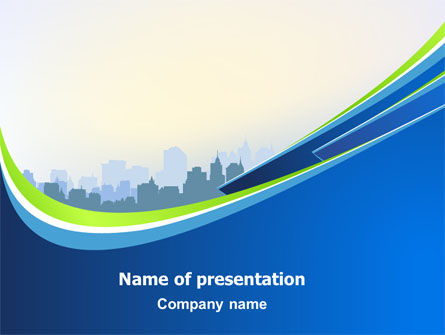 Construction: Blue Cityscape PowerPoint Template #07561