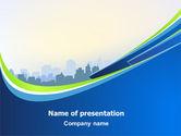 Construction: Blue Cityscape PowerPoint Template #07561