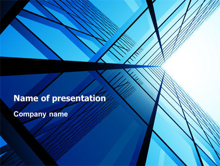 Blue Windows Of Skyscraper PowerPoint Template, 07562, Construction — PoweredTemplate.com