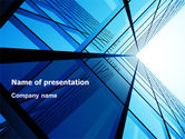 Construction: Blue Windows Of Skyscraper PowerPoint Template #07562