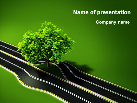 Nature & Environment: Trees and Roads PowerPoint Template #07581