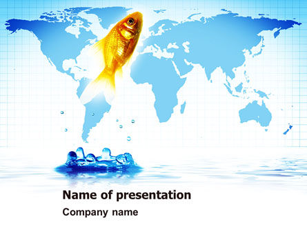 Business Concepts: Goldfish Jumping Up PowerPoint Template #07592