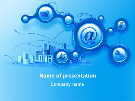 e-communication powerpoint template, backgrounds | 07612, Modern powerpoint
