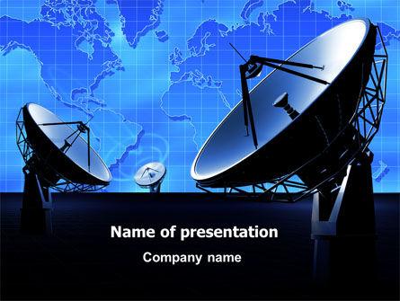 Telecommunication: 长距离通信的抛物面天线PowerPoint模板 #07620