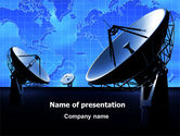 Telecommunication: Parabolic Antennas of Long Range Communication PowerPoint Template #07620