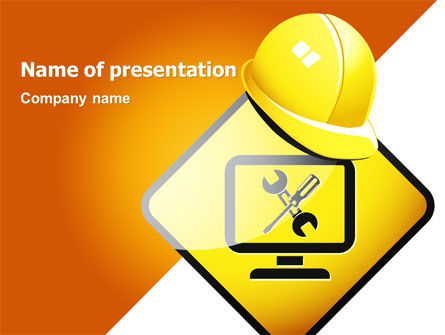 Construction: Tech Support Sign PowerPoint Template #07627