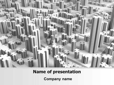Jigsaw City Free PowerPoint Template, 07642, Consulting — PoweredTemplate.com