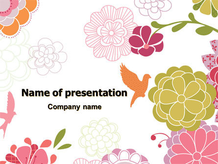Pink Floral Theme PowerPoint Template, 07650, Nature & Environment — PoweredTemplate.com