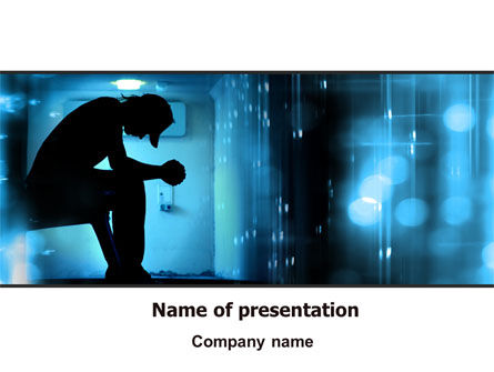 People: Feeling Blue PowerPoint Template #07653