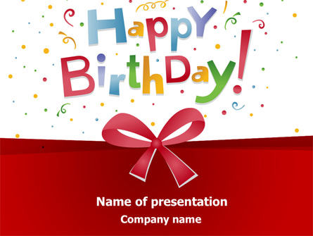 Happy Birthday Bow PowerPoint Template