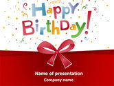 Holiday/Special Occasion: Happy Birthday Bow PowerPoint Template #07660