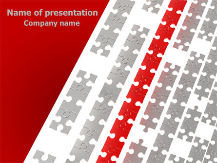 Red Jigsaw Theme PowerPoint Template, 07677, Consulting — PoweredTemplate.com