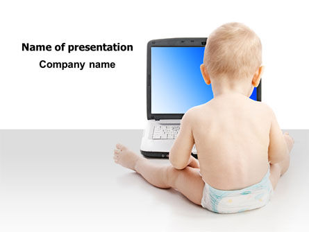 Education & Training: Child Computer Training PowerPoint Template #07684