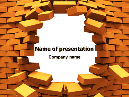 Consulting: Broken Golden Wall PowerPoint Template #07685