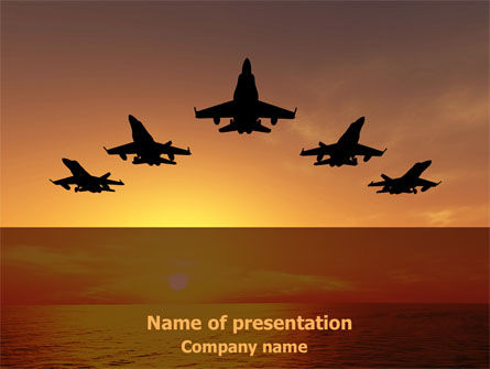 Military: Aircraft Parade PowerPoint Template #07701