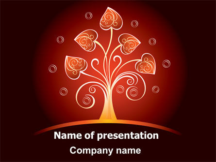 Glowing Tree PowerPoint Template, 07721, Abstract/Textures — PoweredTemplate.com