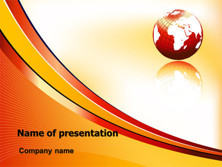 Orange Globe Theme PowerPoint Template, 07723, Global — PoweredTemplate.com