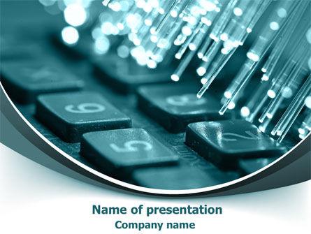 Telecommunication: Beleuchtete optische faser PowerPoint Vorlage #07734