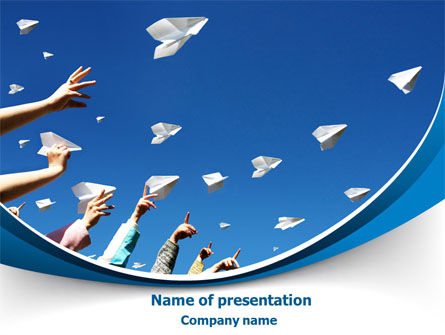 Business Concepts: Running Paper Planes PowerPoint Template #07741