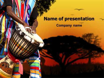 African Drum PowerPoint Template, 07744, Flags/International — PoweredTemplate.com