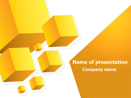 Yellow Cubes PowerPoint Template, 07763, Abstract/Textures — PoweredTemplate.com