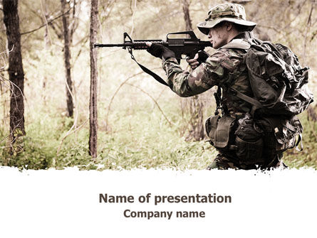 Camouflage Soldier PowerPoint Template, 07766, Military — PoweredTemplate.com