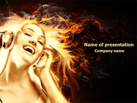 Careers/Industry: Flame Girl PowerPoint Template #07807