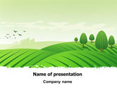 Agriculture: Green Hills PowerPoint Template #07809