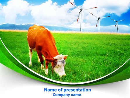 Agriculture: Grazing Cow PowerPoint Template #07811