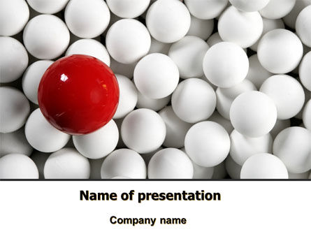 Red Ball Of White PowerPoint Template