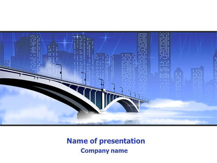 City Bridge Free PowerPoint Template, 07823, Construction — PoweredTemplate.com