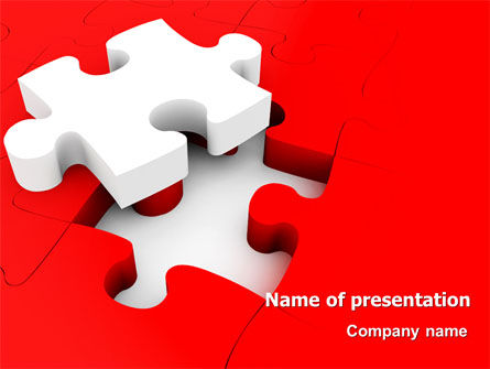 Consulting: White Jigsaw on Red PowerPoint Template #07836