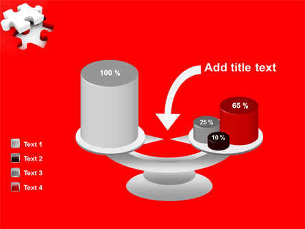 White Jigsaw on Red PowerPoint Template Slide 10