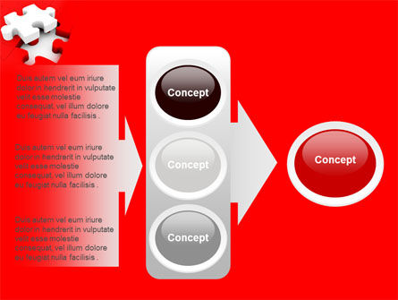 White Jigsaw on Red PowerPoint Template Slide 11