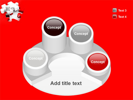 White Jigsaw on Red PowerPoint Template Slide 12