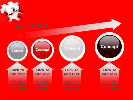 White Jigsaw on Red PowerPoint Template Slide 13
