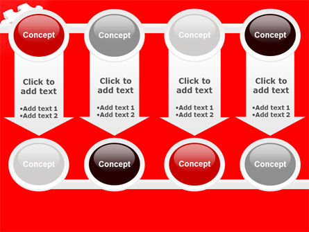White Jigsaw on Red PowerPoint Template Slide 18