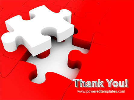 White Jigsaw on Red PowerPoint Template Slide 20
