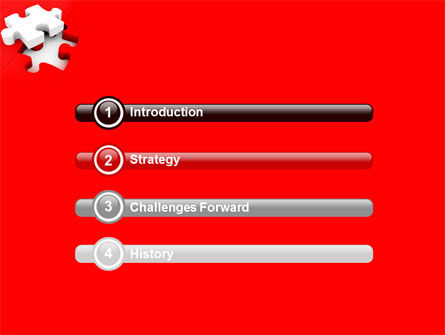 White Jigsaw on Red PowerPoint Template Slide 3