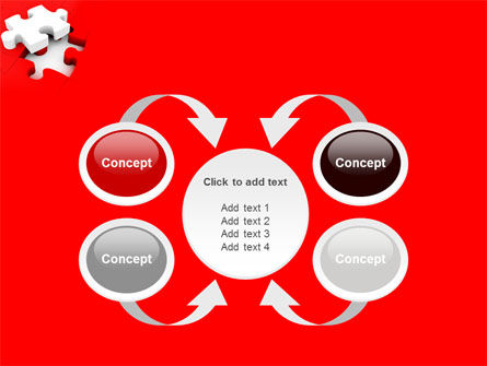 White Jigsaw on Red PowerPoint Template Slide 6