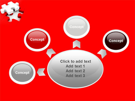 White Jigsaw on Red PowerPoint Template Slide 7