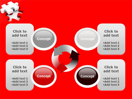 White Jigsaw on Red PowerPoint Template Slide 9