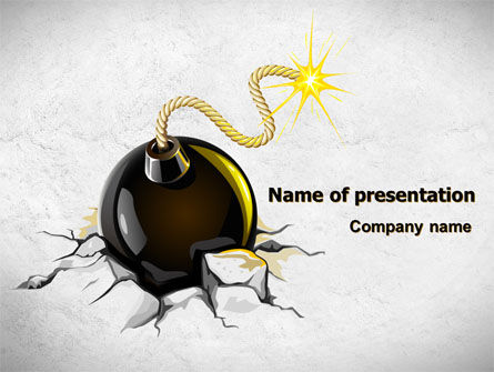 Bomb With Burning Wick On Crashed Ground PowerPoint Template, 07838, Consulting — PoweredTemplate.com