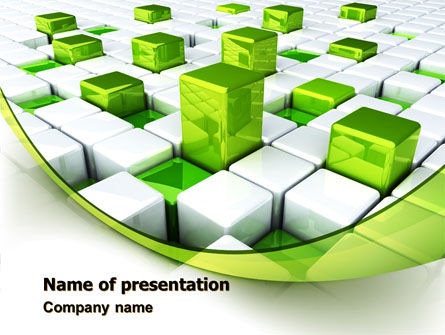 Green Graphs PowerPoint Template, 07839, Technology and Science — PoweredTemplate.com